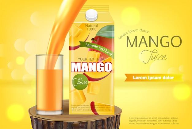 Mango juice banner Premium Vector