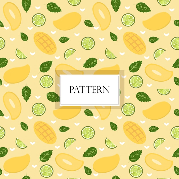 Mango and lemon seamless pattern Premium Vector