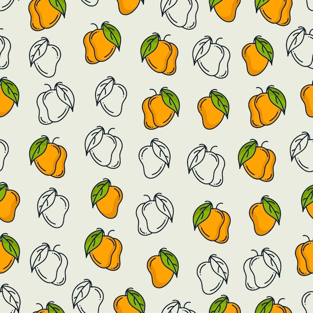 Mango pattern. seamless background Premium Vector