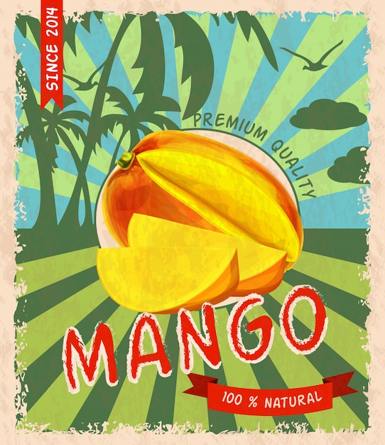 Mango retro poster Free Vector