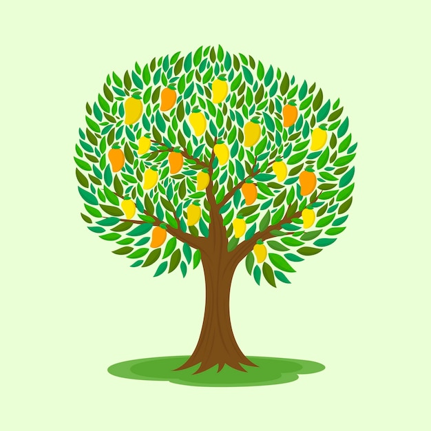 Mango tree with fruits flat design illustration Free Vector