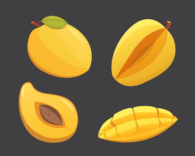 マンゴー黄色フルーツ孤立イラスト。熟したフレッシュマンゴー Premiumベクター