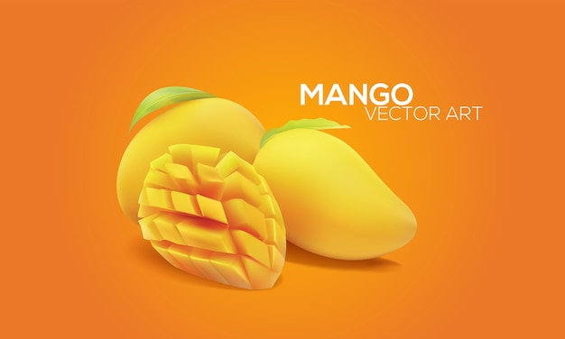 Mangoes in vector art Premium Vector
