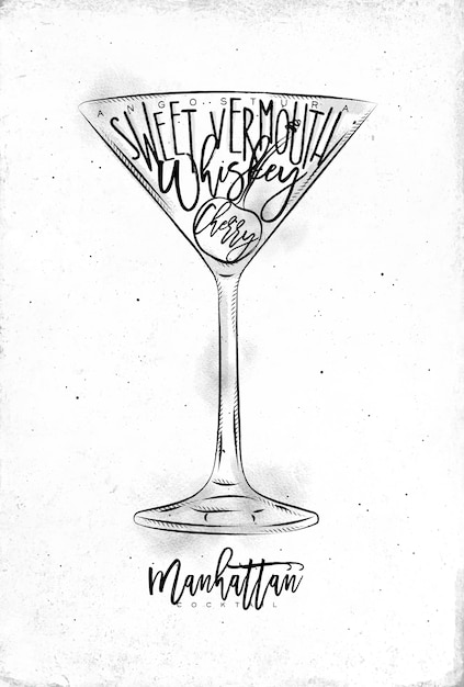 Premium Vector Manhattan Cocktail With Lettering