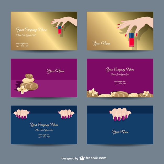 Manicure company card templates Free Vector