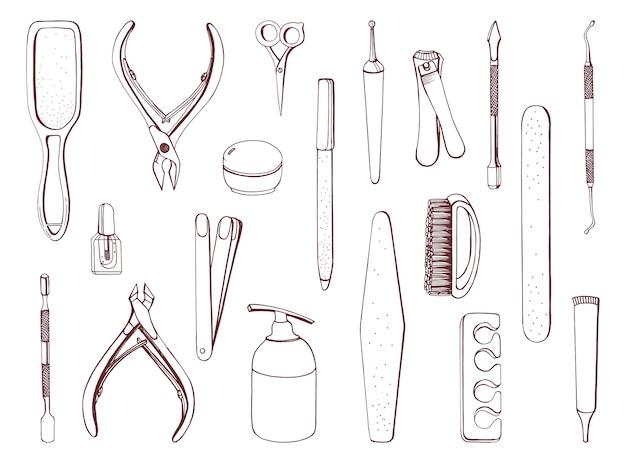 Manicure equipment set. hand drawn contour collection. Premium Vector
