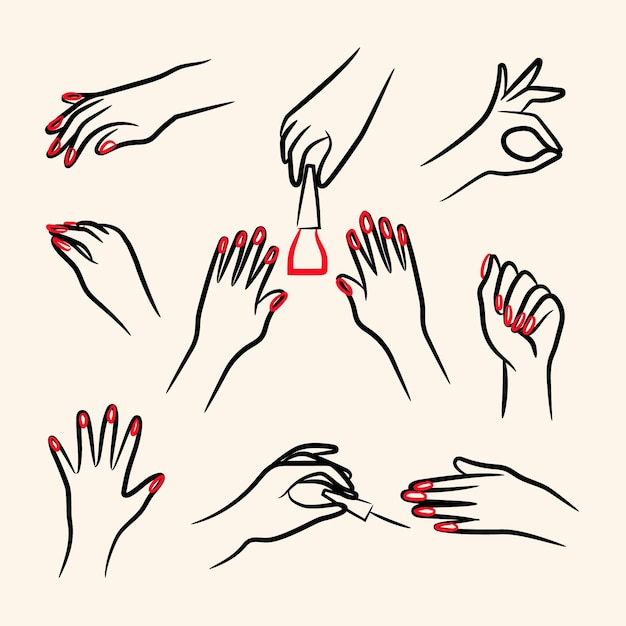 Manicure hand illustration pack Free Vector