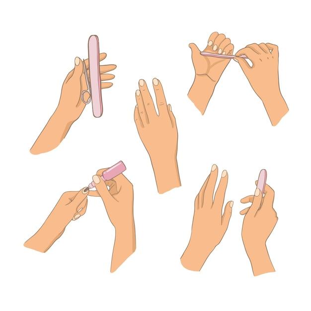 Insieme dell'illustrazione della mano del manicure Vettore gratuito