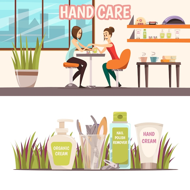 Manicure horizontal banners set Free Vector