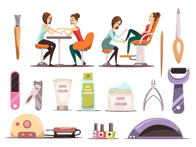 Manicure icons set with nail polish symbols cartoon isolated vector illustration Premium Vector