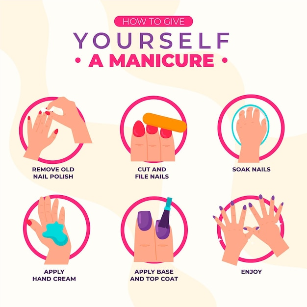 Manicure instructions concept Free Vector