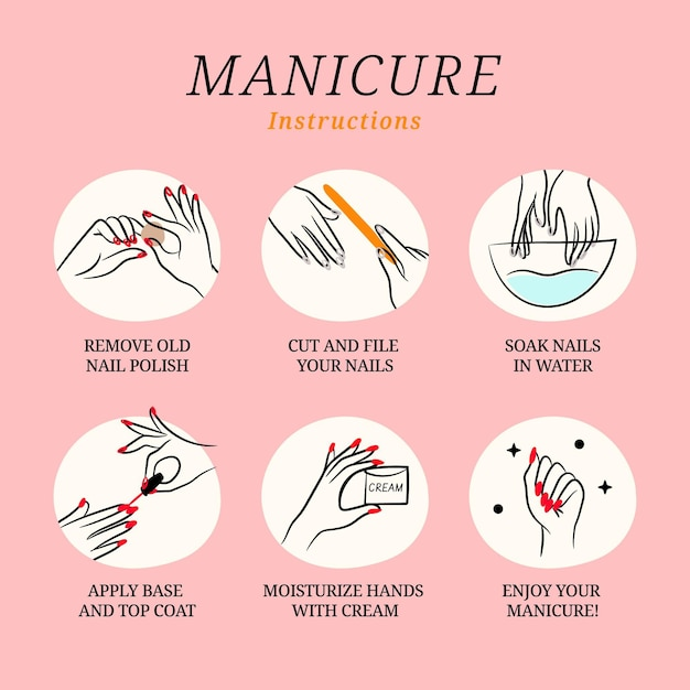 Manicure instructions illustration collection Free Vector