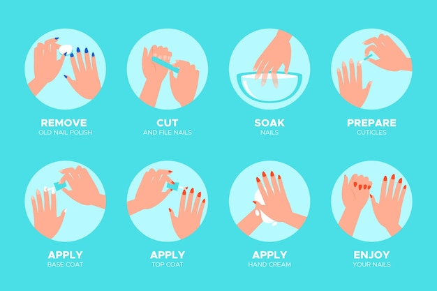 Manicure instructions infographic Free Vector
