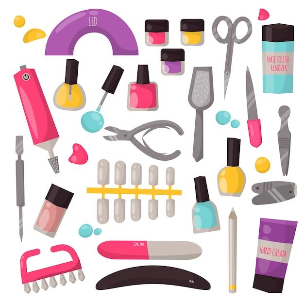 Manicure instruments vector set. Premium Vector