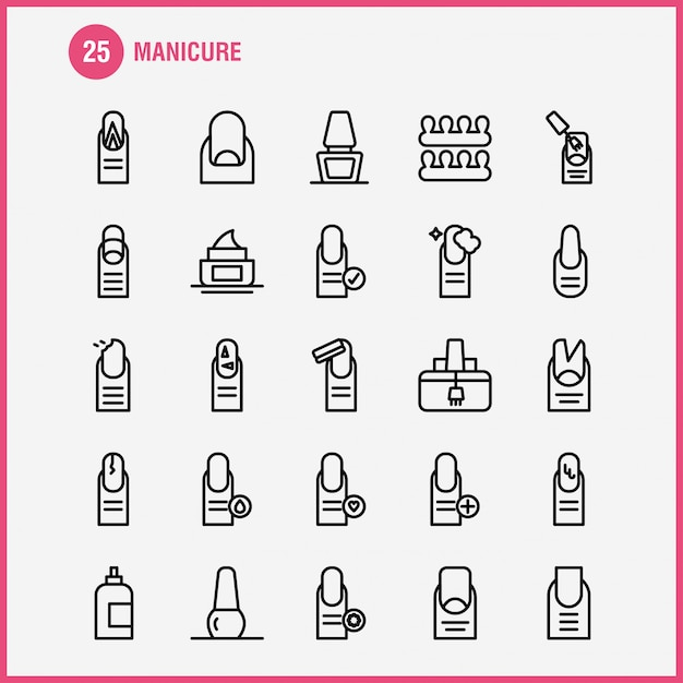 Manicure line icon pack Free Vector