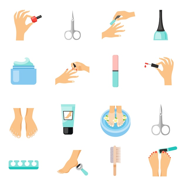 Manicure and pedicure flat icons set Free Vector