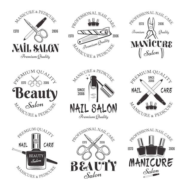 Manicure and pedicure salon set of vector monochrome emblems Premium Vector