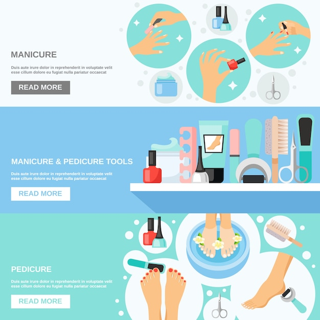 Manicure pedicure tools flat banners Free Vector