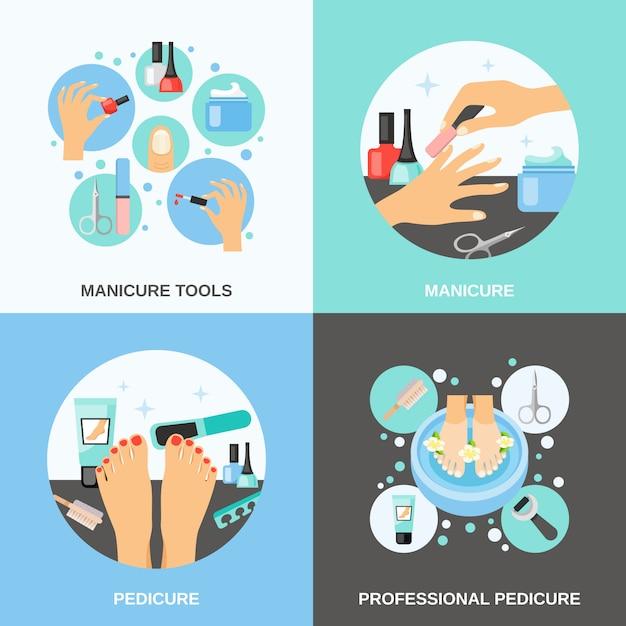 Manicure pedicure vector image set Free Vector