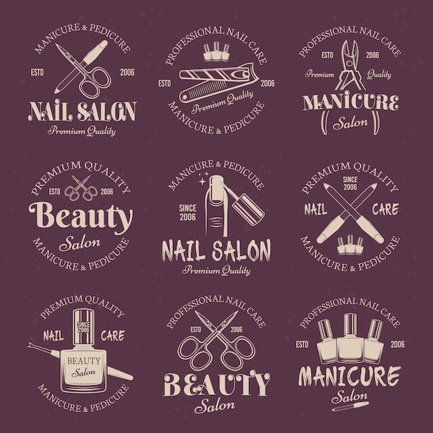 Manicure salon set of vector colored emblems Premium Vector
