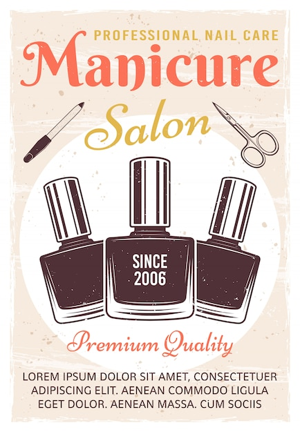 Manicure salon vintage colored poster with nail polish Premium Vector