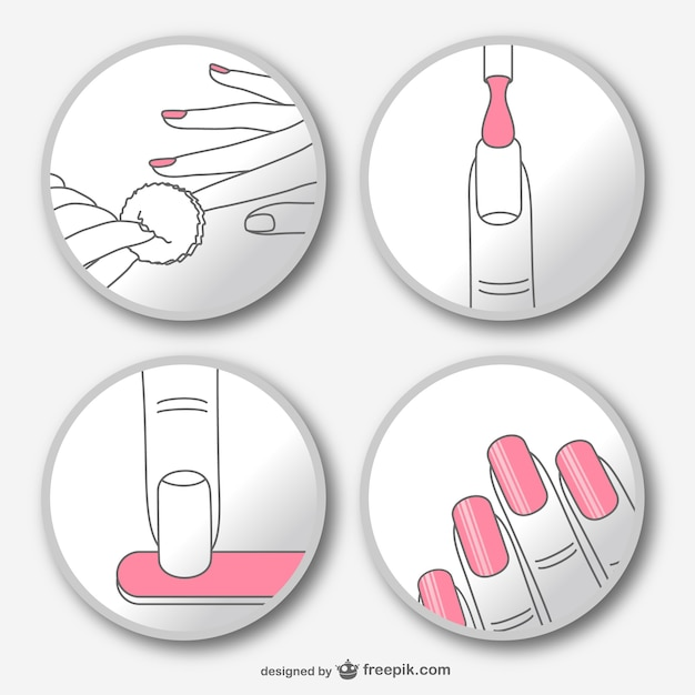 Manicure step by step vector Free Vector