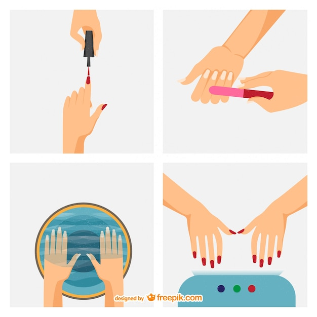 Manicure steps vector Free Vector