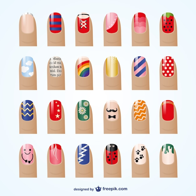 Manicure styles vector Free Vector