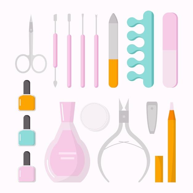 Collezione di strumenti per manicure Vettore gratuito