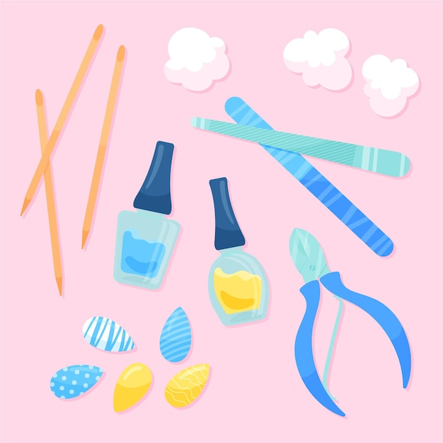 Manicure tools collection Free Vector