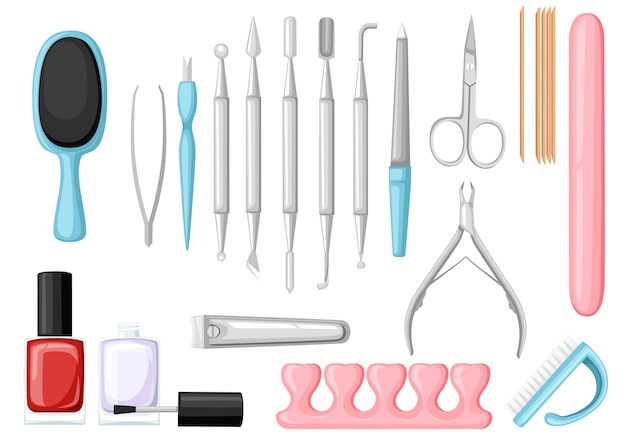 Manicure tools  set. colorful icon collection. tools for beauty salon or for cosmetics bag,   illustration Premium Vector