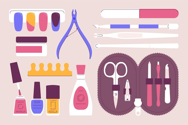 Manicure tools set illustrated Free Vector