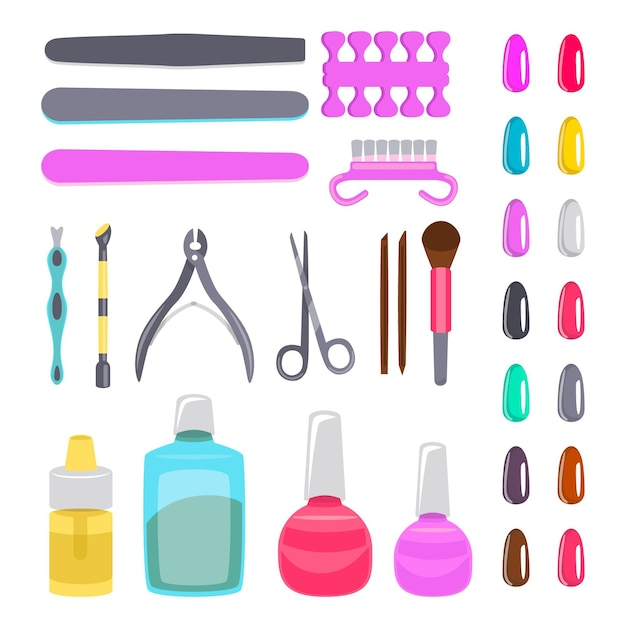 Manicure tools set Free Vector