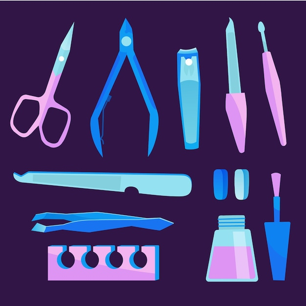 Manicure tools Free Vector