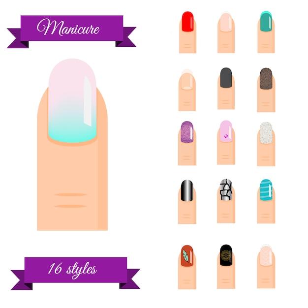 Manicure types Premium Vector