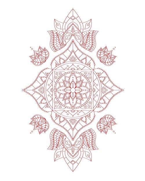 Мандала корневой чакры манипура для вашего дизайна. иллюстрация Premium векторы