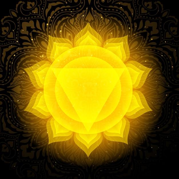 Manipura chakra with mandala. solar plexus chakra. Premium Vector