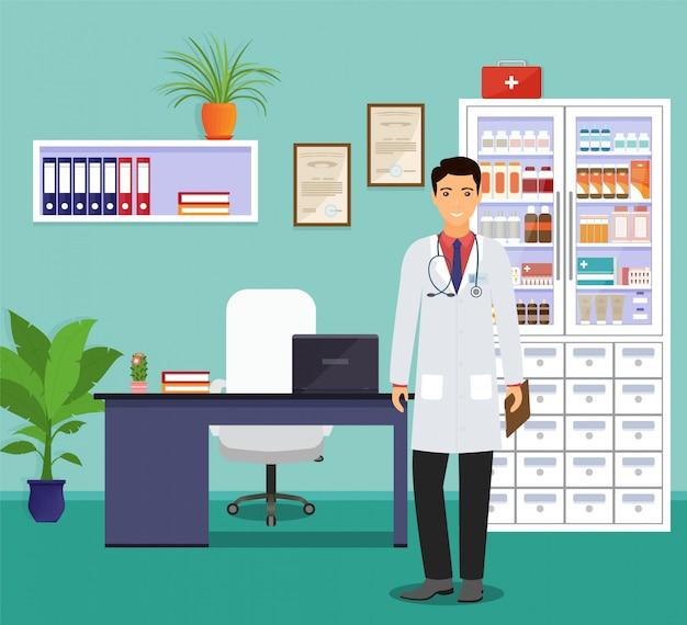 Доктор манн в форме стоя возле стол в кабинете врача. медицина работника персонажа ждет пациентов. Premium векторы