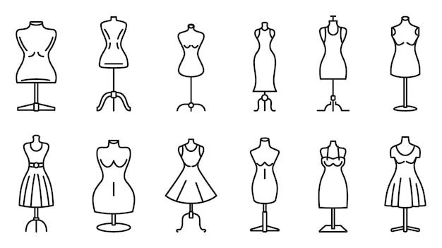 Mannequin atelier icons set, outline style Premium Vector