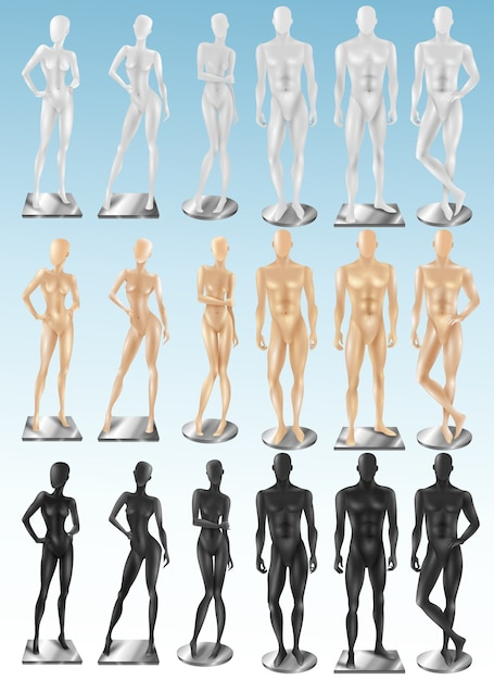 Mannequins 3 color realistic sets Free Vector