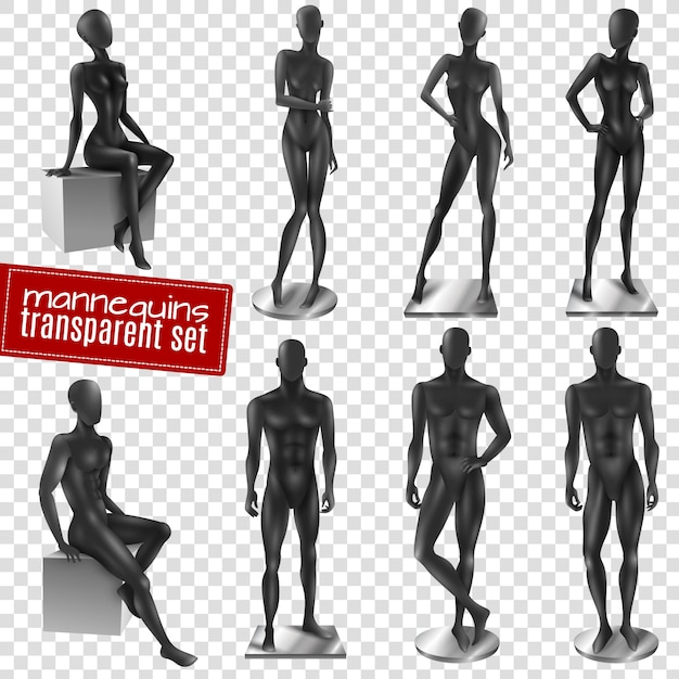 Mannequins black realistic transparent background set Free Vector
