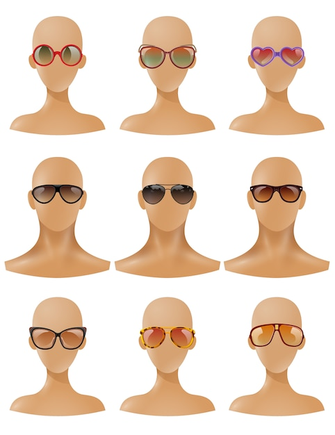 Mannequins heads display sunglasses realistic set Free Vector