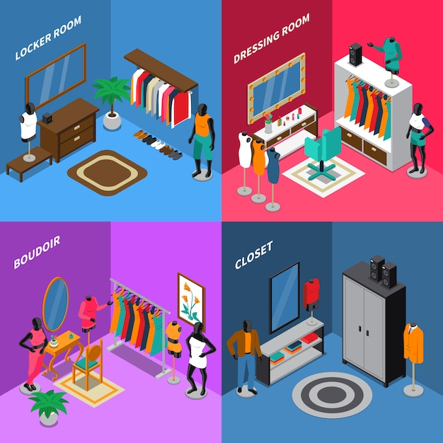 Mannequins isometric compositions Free Vector