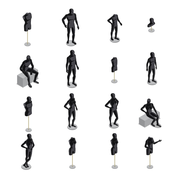 Mannequins isometric set Free Vector