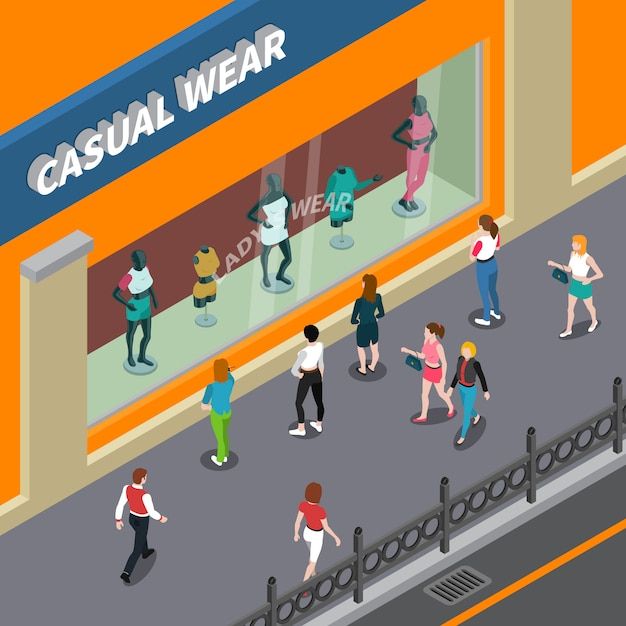Mannequins in showcase isometric illustration Free Vector