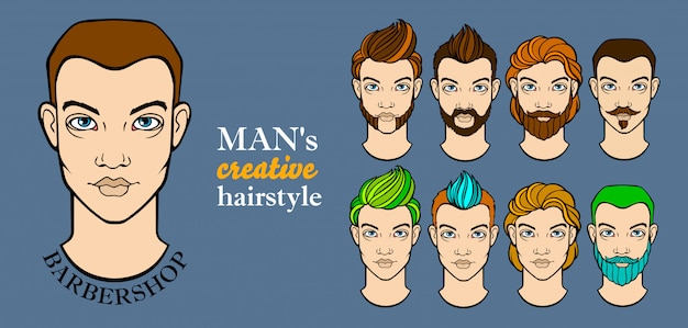 Mans hairstyle elements for barbershop app Premium Vector