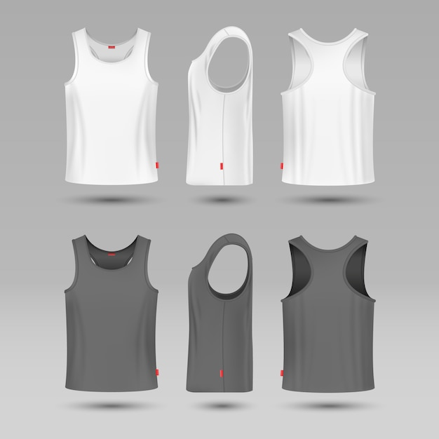 Mans white blank tank singlet. male shirt without sleeves vector template. Premium Vector