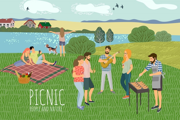 Mans and womans resting on the nature against the background of the rural landscape Premium Vector