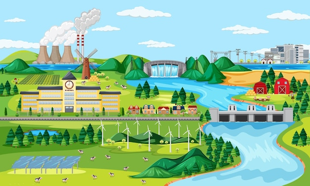 Manufactory and wind turbine and long river scene Free Vector