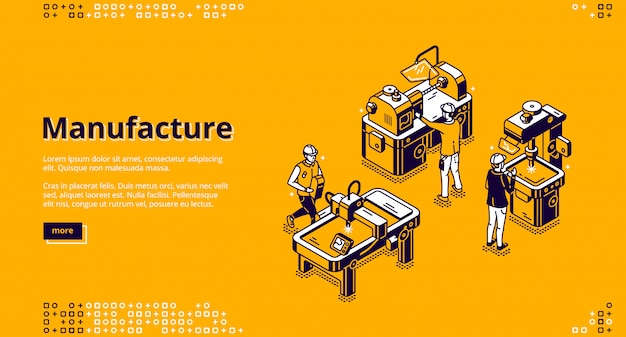 Manufacture isometric landing page, web banner Free Vector